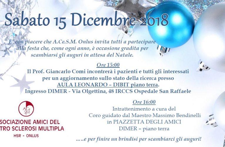 Festa di Natale 2018 – Il Professor Giancarlo Comi incontra i pazienti